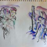 """Г.А.В. Траугот. Эскиз иллюстрации для книги Д. Гранина """"Мой лейтенант"""". 2005"""